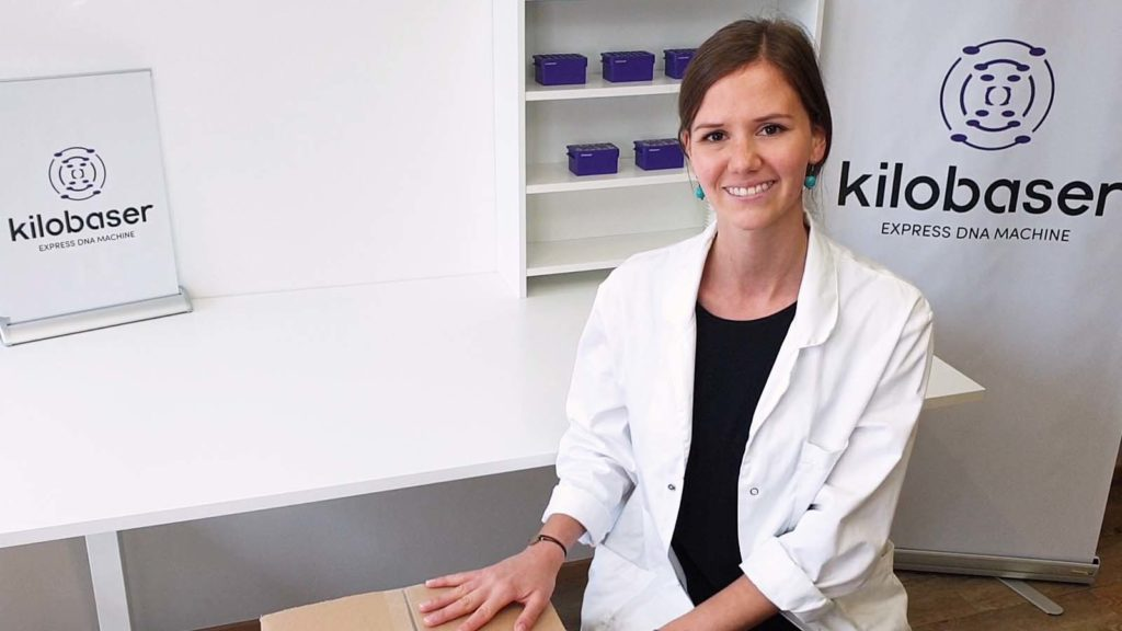 Lisa-Marie Michelitsch, Head of Sales, at Kilobaser GmbH. Kilobaser DNA Synthesizer machine for in-house DNA Synthesis. Microfluidic chip based. Synthesize DNA oligos, DNA primer, DNA probes in less than 2h.