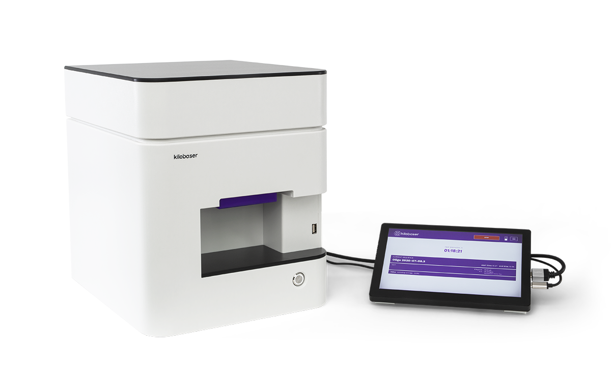 Kilobaser DNA Synthesizer machine for in-house DNA Synthesis. Microfluidic chip based. Synthesize DNA oligos, DNA primer, DNA probes in less than 2h.